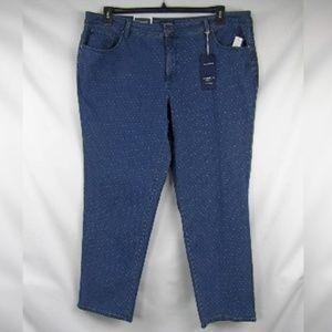 Charter Club Dot Print Tummy Control Jeans Plus Sz